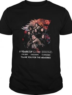 8 Years Of Game Of Thrones 20112019 Thank You For The Memories Shirt