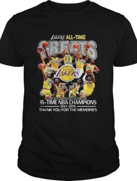 Los Angeles Lakers all time 16 time NBA champions shirt
