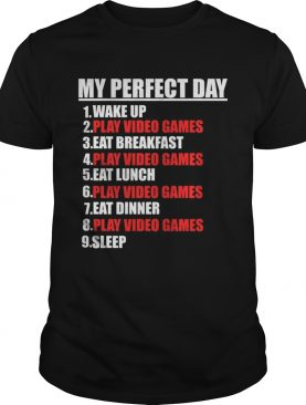 My Perfect Day Video GamesFunny Cool Gamer Tee Gift TShirt