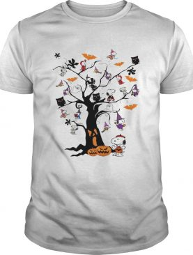 Snoopy Woodstock owl bats ghost Boo on the tree Halloween shirt