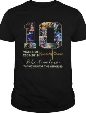 10 years of 2009 2019 Sword Art Online thank you for the memories shirt