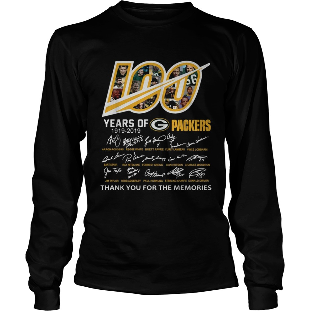100 Years of Green Bay Packers 19192019 signatures LongSleeve