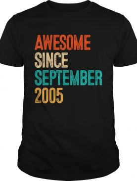 1568289784Awesome Since September 2005 14 Year Old Gift 14th Birthday T-Shirt
