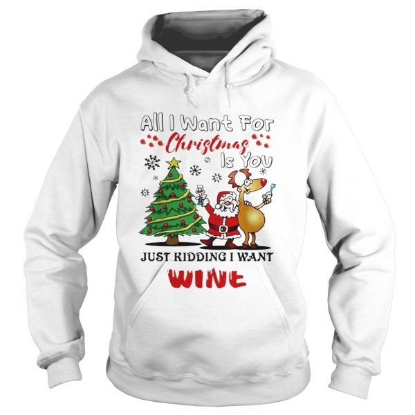 All I want for Christmas is you just kidding I want wine  Hoodie