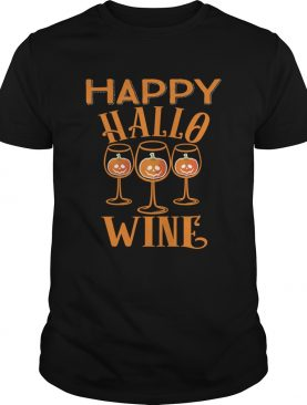 Happy Hallowine Halloween Wine Glasses Drinking TShirt