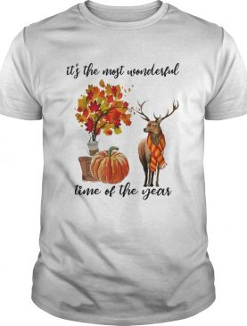 Its The Most Wonderful Time Fall Autumn Maple Leaf Deer Shirt