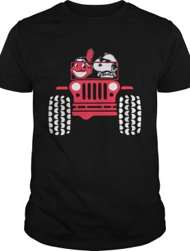 Snoopy and Cleveland Indians driving Jeep shirt