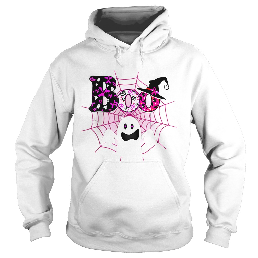 Boo Breast Cancer Awareness Ghost Halloween Ribbon  Hoodie