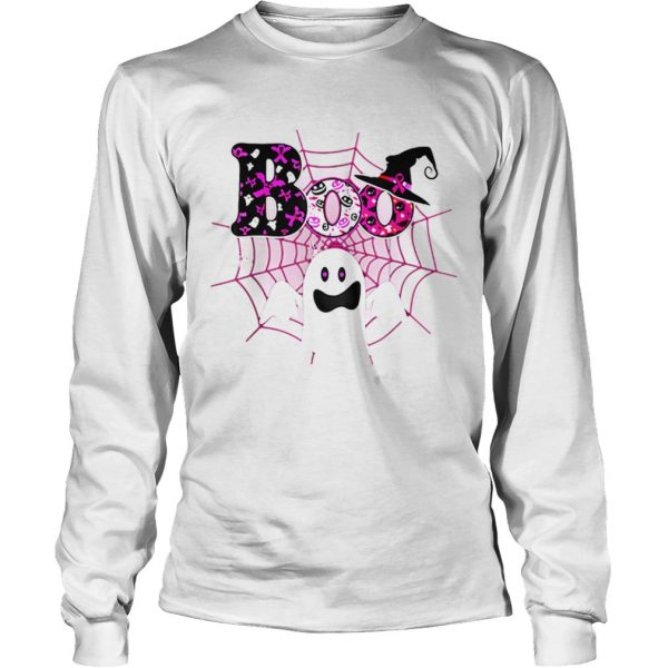 Boo Breast Cancer Awareness Ghost Halloween Ribbon  LongSleeve