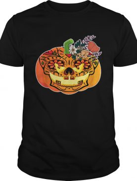 Day of the Dead Sugar skull in Pumpkin Halloween shirt