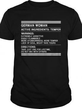 German woman active ingredients temper shirt