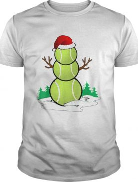 tennis Snowman Funny Santa hat Gift Party Christmas TShirt