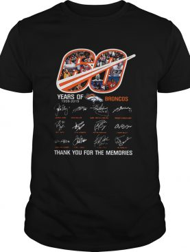60 Years Of Denver Broncos 19592019 thank you for the memories shirt