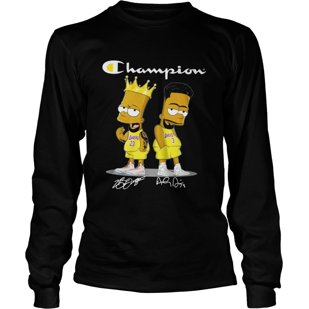 Champion Lebron James Jersey Lakers The Simpsons Signatures  LongSleeve