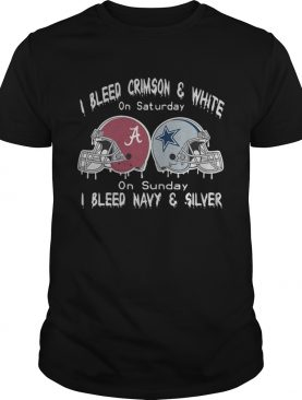 I Bleed Alabama Crimson Tide And White On Saturday On Sunday I Bleed Navy And Silver shirt