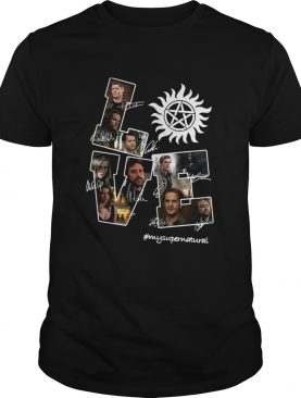 Love Supernatural all members signature shirt
