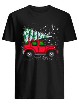 Red Jeep With Pine Tree Christmas shirt