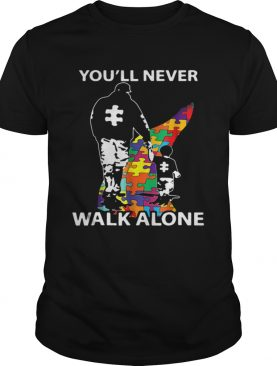 Father and son youll never walk alone Autism road shirt
