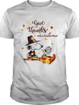 Snoopy and Woodstock Give thanks with a Grateful heart shirt
