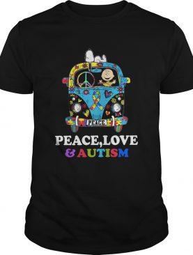 Snoopy And Charlie Brown Peace Love Autism shirt LlMlTED EDlTlON