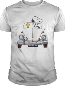 Snoopy And Woodstock Driving Volkswagen Beetle shirt