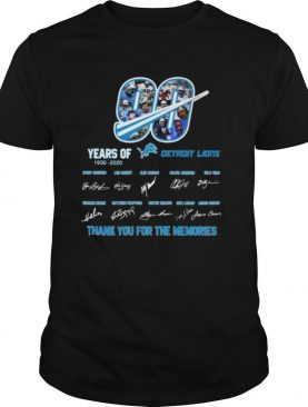 90 years of 1930 2020 detroit lions thank you for the memories signatures shirt