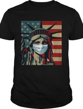 Statue of liberty mask american flag independence day shirt