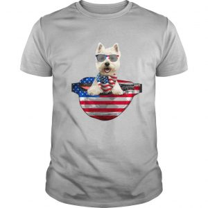 West highland white terrier waist pack american flag independence day shirt