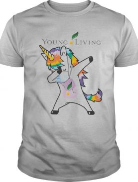 Dabbing unicorn mask young living logo coronavirus shirt