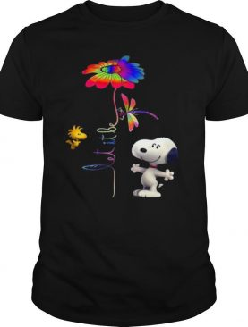Snoopy woodstock and butterfly let it be flower shirt