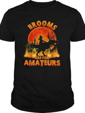 Halloween witch riding dinosaur brooms are for amateurs moon shirt