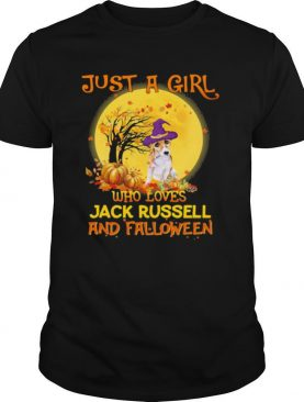 Just A Girl Who Loves Jack Russell And Falloween Pumpkin Sunset Halloween shirt