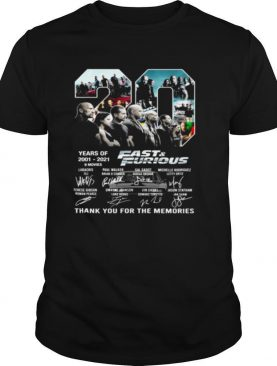 20 Years Of 2001 2021 Fast & Furious Thank You For The Memories shirt