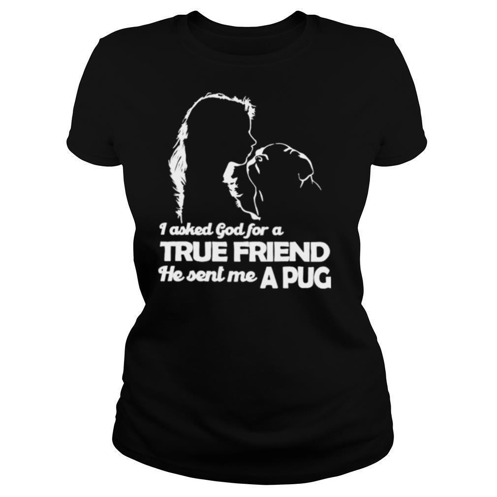 I asked God for a True Friend he sent me a Pug and Girl shirt