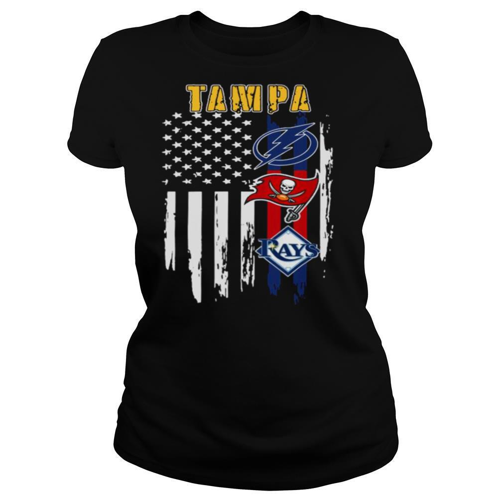 Tampa Sports Lightning Buccaneers And Rays 2021 American Flag shirt